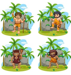 Many cavemen with different weapons vector