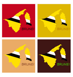 Map brunei with provinces colored in vector