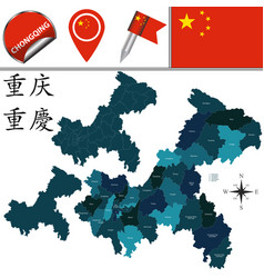 Map of chongqing with divisions vector