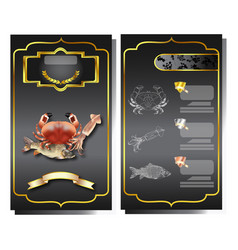 menu sea food set vector image