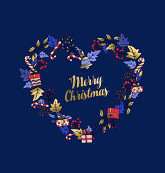 merry christmas love shaped wreath greeting card vector image