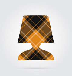 Orange black tartan icon - bedside table lamp vector