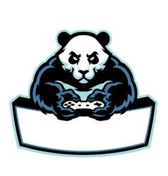 panda mascot logo gaming esport vector image