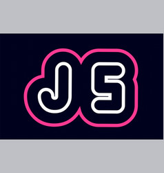 Pink white blue alphabet combination letter js j vector
