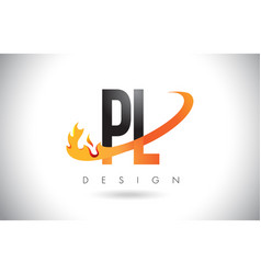 pl p l letter logo with fire flames design and vector image