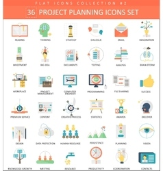 Project planning color flat icon set vector
