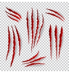 Realistic claw scratches set on plaid vector