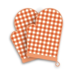 Red kitchen gloves vector
