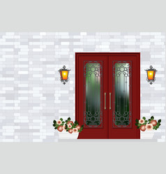 red vintage front door house entrance grey brick vector image