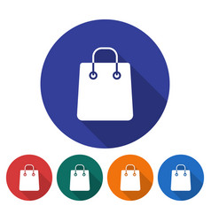 round icon of shopping bag flat style with long vector image