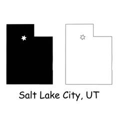 Salt lake city utah ut state border usa map vector