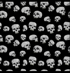 Seamless skulls black vector