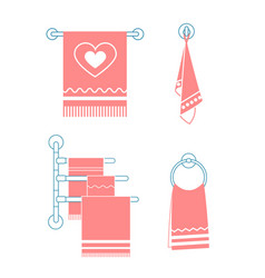 Set icons towel rack vector