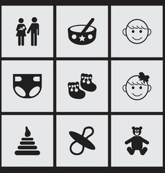 set of 9 editable baby icons includes symbols vector image
