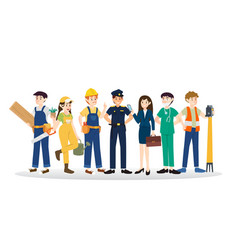 set of diverse caree profession people design vector image