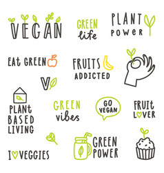 set of vegan text signs vector image