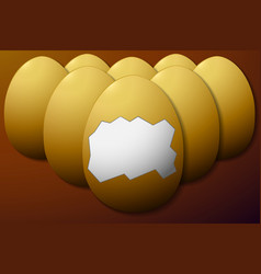 Set unshelled eggs in the middle brown background vector