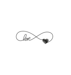 Sign infinity and heart and text love icon vector