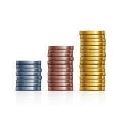 stacks of coins Gold silver and copper vector image