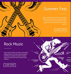 Summer fest and rock music collection of banners vector