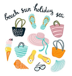 Summer set with beach accessories isolated on the vector
