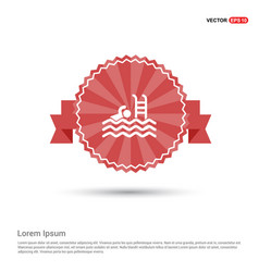 swimming icon - red ribbon banner vector image