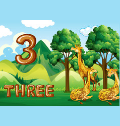 Three giraffe in nature vector