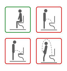 toilet rules icons set for men vector image