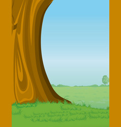 Tree and pasture background vector