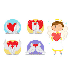 valentines day love symbols and angel or cupid vector image