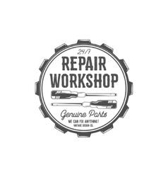 Vintage label design Repair workshop patch in old vector image