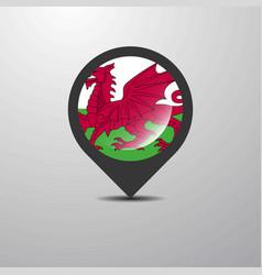 Wales map pin vector