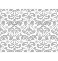 Wallpaper with silver damask pattern vector