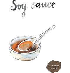Watercolor soy sauce vector