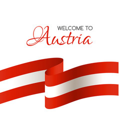 welcome to austria card with flag of austria vector image