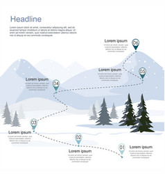 Winter ski resort route infographic vector