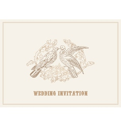 birds in love - beautiful card with place for your vector image vector image
