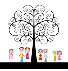 family with curled tree on white background vector image vector image