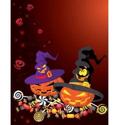 Halloween pumpkin card vector image