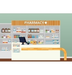 Medical pharmacy or drugstore interior design vector image vector image