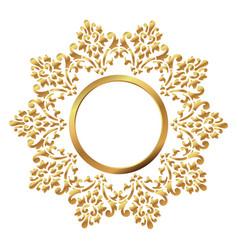 vintage frame circular baroque pattern round vector image
