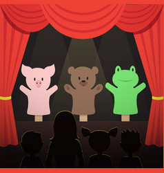 childrens puppet theater performance with animals vector image