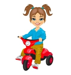 cute little girl riding a tricycle vector image vector image