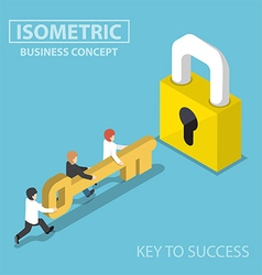 Isometric business team holding golden key to unlo vector image
