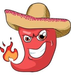 sharp chili pepper in a sombrero vector image