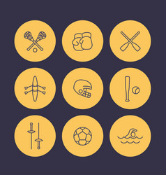 sports and games line icons set rowing boxing vector image