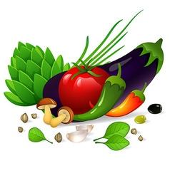 Vegetables set on white background vector image vector image