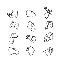 Animal heads thin line flat icons vector image vector image