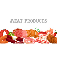 banner with meat products of vector image vector image