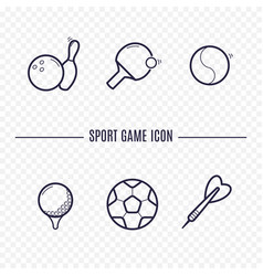 games linear icons chess dice cards checkers and vector image vector image